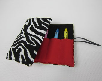 Roll up crayon wallet, Zebra Black and Red crayon holder, crayon travel case, party gift, easter basket gift, christmas stocking gift