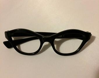 Black Eyeglasses, Vintage 1960s Black Eye Frames, New Old Stock Glasses in Black, Simple Frames