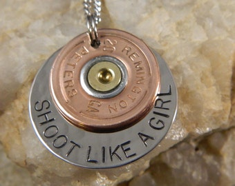 Remington Peters 20 gauge Shoot Like a Girl Bullet Necklace