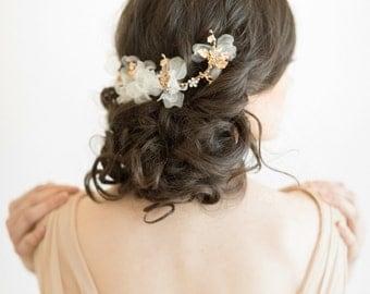 Gold Bridal Headpiece, Wedding Flower Hair Clip, Bridal Crystal Headpiece, Gold Wedding Hair Vine, Gold Twig Headpiece