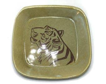 Green Tiger Portrait Ceramic Dish
