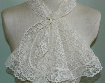 60s Lace Scarf Ascot Scarf Neck Scarf Ivory Lace Mad Men Kellianne Scarf 37""