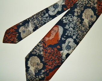 "56"" by 4"" 60s 70s Wemlon Wembley Tie Figurative Victorian Renaissance  Ladies Tapestry Wide Tie Mad Men"
