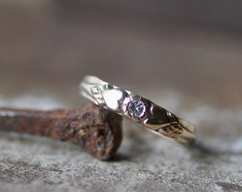 14k gold diamond heart ring, forged ring, Valentines, engagement, wedding band, conflict free, eco friendly
