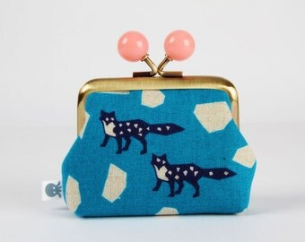 Metal frame coin purse with color bobbles - Echino foxes in blue - Color mum / Japanese fabric / stones / navy neon pink peach