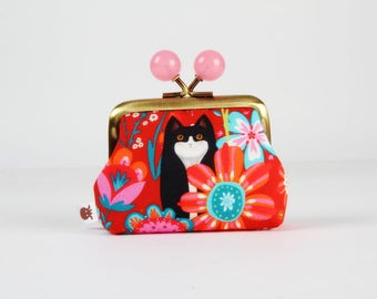 Metal frame coin purse with color bobbles - Cache-Cache - Color mum / Odile Bailloeul / French fabric / Red pink orange teal flowers / Cat