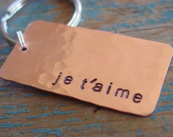 Je T'aime Keychain, Ready to Ship, French Quote, Hammered Copper, Minimalist, I Love You, Mens,Husband Gift,Copper Anniversary,Fast Shipping