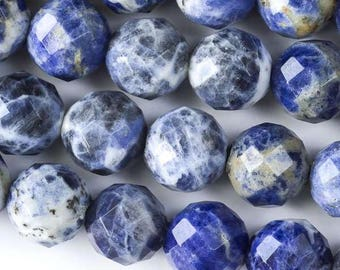 Faceted Large Hole Sodalite 12mm Round with a 2.5mm Drilled Hole