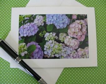 Photo Greeting Card, Blank Notecard, Flower Notecard, Romantic Floral Card, Hydrangea Greeting Card, Fine Art Print, Frameable 5x7 Card