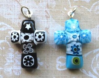 Venetian glass crosses pendants with loop BARGAIN PRICE