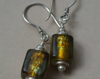 Bronze/Green Colored Glass--Bali Silver Earrings- Hill Tribe Silver