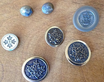9 Vintage Canada Buttons, Maple Leaves, 1867 - 1967 Centennial, Military Buttons, Maple Leafs