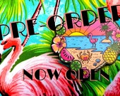 Pre-Order** SHIPS W/C 9th APRIL **Tropical Beach Scene Brooch by Dolly Cool 40s 50s Reproduction Vintage Style Wooden Novelty Pin