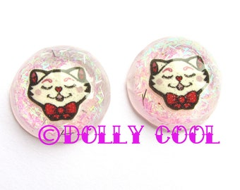 Cat Earrings Lucite Confetti style by Dolly Cool Vintage Kitty Bow Retro