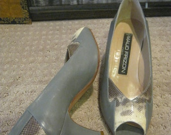 Vintage rare grey lizard Maud Frizon high heels, sz 38 sz 7 grey leather peep toe shoes, woman's Maud Frizon Paris grey heels, grey lizard