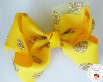 BOW BLOWOUT---X-Large 5.5 Inch Hair Bow---Yellow & Gold---Tulle with Glitter Dots Overlay