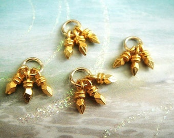 1 3 5 10 Pcs, Gold Spike Charms, Tassel Dangles, 24kt Vermeil, 10mm , Select your quantity