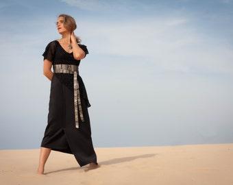 Angular black evening dress, Maxi dress