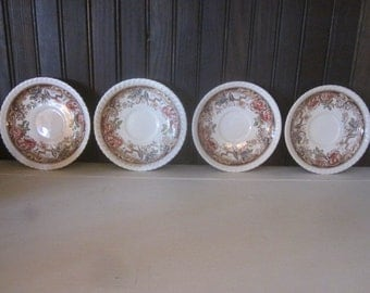 Set of Four Antique Johnson Bros Devonshire Saucers with Cup Indent