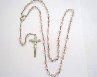 Vintage Beautiful Rosary with Faceted Pink Glass Beads