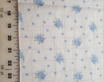 Vintage Blue/Lavender Rose floral print Lightweight Poly cotton 3yd