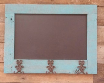 YOUR Ready to Ship Rustic and Reclaimed Teal Barn Wood Chalkboard With Coat HooksFREE SHIPPING - RTSRC65D