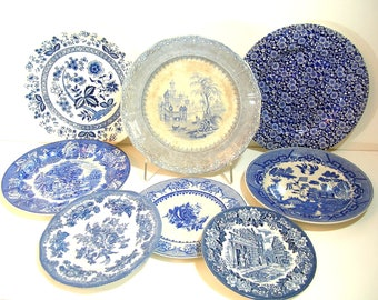 Blue and White Vintage Ironstone Plate Collection, Instant Collection, Home Decor