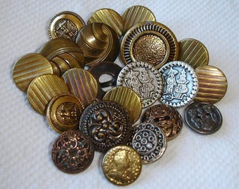 Vintage Golden and Silvered Metal Buttons for craft projects - 2 Buttons are with a China Man