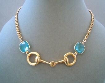 Equestrian -- Aqua Quartz and Horsebit Link Necklace