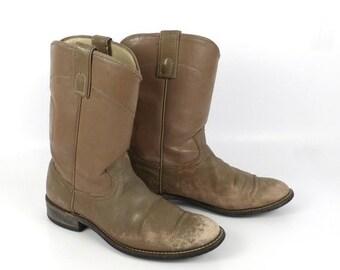 Taupe Cowboy Boots Vintage 1980s Roper Distressed men's size 8