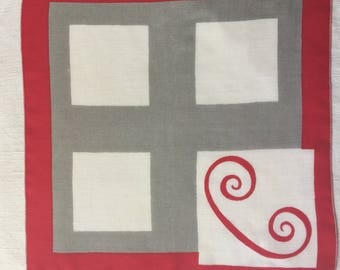 Vintage Red Gray and White Handkerchief a Blue Initial C Handkerchief Hankie