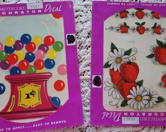 Vintage Meyercord Decals Bubble Gum Machine and Strawberries  Decorator Decals UNUSED