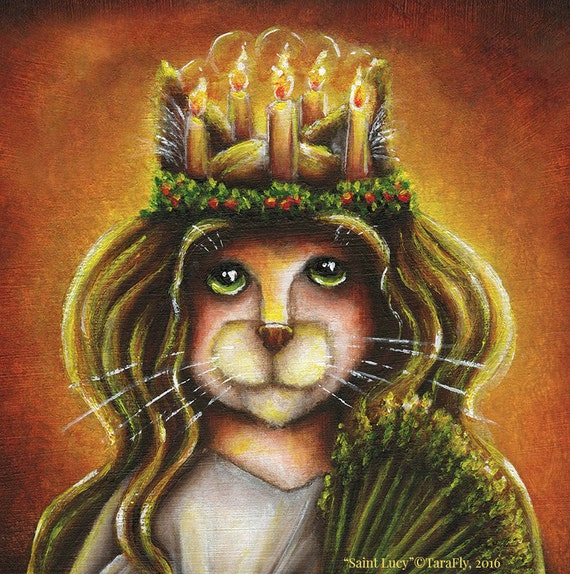 Saint Lucy Calico Cat, Santa Lucia Cat Wearing Candle Wreath Fine Art Print 8x10