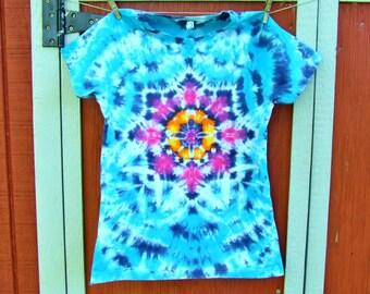 Junior Medium Women's Tie Dye T-shirt - Lotus Blossom Mandala - Ready to Ship