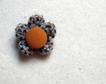 Flower lapel pin. Men's boutonniere. Tweed lapel pin. Buttonhole.  Grey, brown, burnt orange.