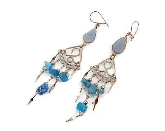 Peruvian Earrings, Blue Stone, Gypsy Earrings, Silver, Vintage Earrings, Ethnic Jewelry, Boho, Long Dangles, Big Earrings, Hippie, Statement