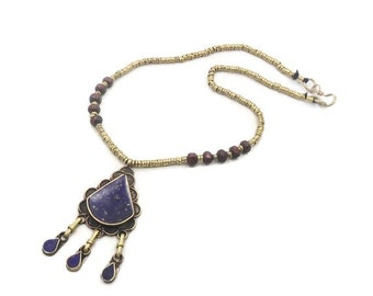 ON SALE Blue Lapis Necklace, Vintage Necklace, Ethnic Tribal, Boho Gypsy, Kuchi Turkmen, Afghan Pakistani, Brass Mixed Metals, Festival, Hip