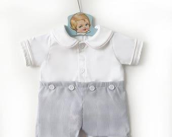 Grey Seersucker Baby Boy Romper, Retro Baby Romper, Baby Easter Outfit, Boys Easter Outfit, Toddler Romper, Baby Playsuit, Baby Sunsuit