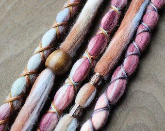 5 Tie-Dye (READY to SHIP) Wool Dreads Wrapped & Beaded Bohemian Hippie Dreadlocks