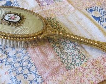 Sweet Vintage Floral Brass Hairbrush