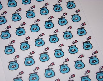 48 Feed the Fish Stickers / Planner Stickers ~ Great for your Erin Condren Life Planner/ Hand-drawn