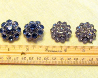 4 Sparkly Large Rhinestone Shank Buttons for crafting or coats