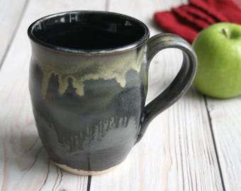 Modern Rustic Pottery Mug in Gray and Black and Gold Glazes Handmade Stoneware Coffee Cup Made in USA Ready to Ship