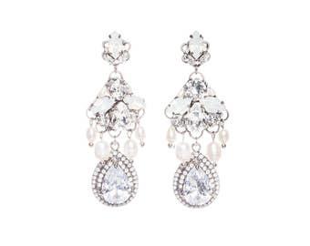 Wedding Earrings Vintage Bridal Earrings Swarovski Opal Crystal Chandelier Earrings  Freshwater Pearl Wedding Jewelry
