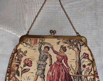 SWEETHEART SALE Vintage Petit Point Colonial Couple Tapestry Clutch Purse Bag