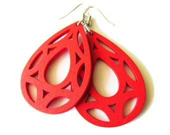Red Geometric Wooden Handcrafted Earrings, Modern Bold Design Lightweight Earrings for Women, Large Bright Coloured Jewellery