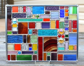 Geometric Multicolored Stained Glass Panel