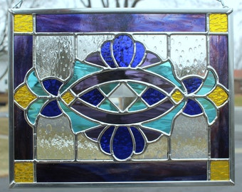 Cobalt Blue, Purple, Sky Blue and Yellow Stained Glass Panel
