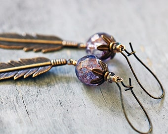 Long Feather Earrings, Purple Glass Beads, Antiqued Brass
