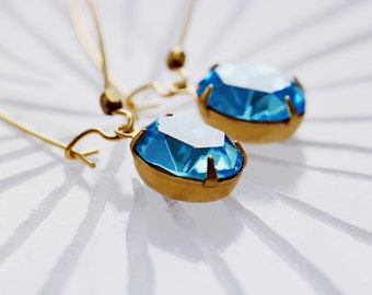 1920s Drop Earrings | Blue Crystal Earrings | Every Day Earrings | Bridesmaid Gift | Gold Dangle Earrings | Swarovski Crystal | For Her